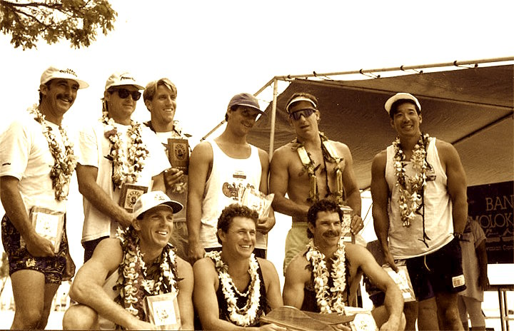 1992 Molokai Crossing - 1st Place Koa Division. Rich Long (bottom center) and John Yamasaki (upper right).